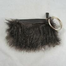 Aqua Madonna Brown Mongolian Lamb Fur Leather Clutch Purse Gold Tone Ring Handle Photo