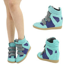 Aqua Mint Royal Blue Gray Wedge Med Heel Platform Booties Fashion Sneaker Sz 5.5 Photo