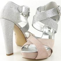 Aqua Moxie Pink Silver Glitter Womens Designer Evening Platform Heels Pumps 9 Photo