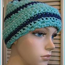 Aqua & Navy Handmade Hand Knit Crochet Beanie Cap Hat With Pompom Photo