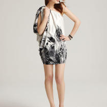 Aqua New Black Feather Printed One Shoulder Batwing Dress 4 Ship Express   168 Photo