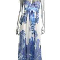 Aqua New Blue Chiffon Silk Printed Empire Waist Strapless Formal Dress Gown 4 Photo