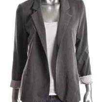 Aqua New Gray Collared 3/4 Sleeves Single Vent Girlfriend Open Front Blazer M Photo