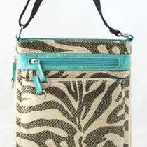 Aqua or Fuchsia Zebra Shimmer Print Expandable Cross-Body Bag  Photo