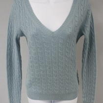 Aqua Periwinkle Blue Cashmere Long Sleeve Crew Neck Cable Knit Sweater Sz S  Photo