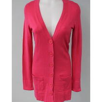 Aqua Pink Button v-Neck Down Cardigan Sweater Size Large   Photo