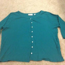 Aqua Ribbed Knit Cardigan  Size 14-16 Photo