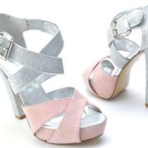 Aqua Shoes Moxie Silver/pink Platform Sandals Womens Size 5.5 Photo