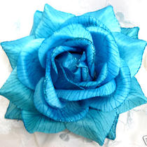 Aqua Silk Rose Hair Flower With Glitter Clip/pin 01 Photo