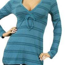 Aqua Stripe Long Sleeve Cotton Drawstring Tunic/top M Photo