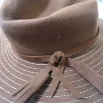 Aqua Striped Front Tie Sun Hat Brown One Size Nwt Photo