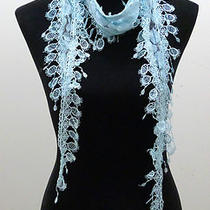 Aqua Stylish Vintage European Lace Tassel Scarf 19 Photo