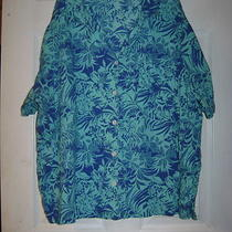 Aqua & Teal Print Blouse by Erika   Size 2x Photo