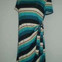 Aqua Turquoise Teal Stripe Sheath Shift Stretch Shirred Faux Wrap Dress 16w Usa Photo