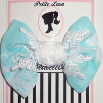Aqua White Damask Venise Lace Rose Hair Bow Photo