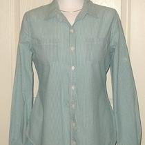 Aqua & White Striped Cotton Long Sleeve Blouse by Mossimo Size Medium Photo