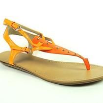 Aqua Women's Famous Shoes Orange Multi Leather Thong Sandals Size 7.5 Photo