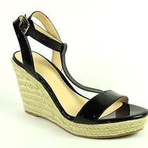 Aqua Women's Hampton Shoes Black Patent Leather Wedge T-Strap Sandals Size 6.5 Photo