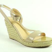 Aqua Women's Hampton Shoes Natural Patent Leather Wedge T-Strap Sandals Size 10 Photo