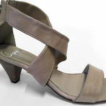 Aqua Womens Chunk Ankle Strap Sandals Shoe Sz 10 M Taupe Leather Solid 2 1/2