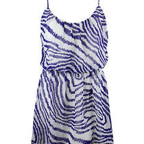Aqua Womens White Blue Print Sheer Overlay Sleeveless Rayon Dress M 88 New Photo