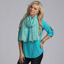 Aqua Zebra Print Light Weight Scarf Photo