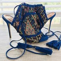 Aquazzura 37 Blue Suede Leather Fringe Tie Up Stiletto Heels W/ Neon Hand-Stitch Photo
