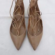 Aquazzura  Christy Beige Leather Lace Up Flats Size 36.5 Us 6.5 Photo