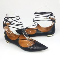 Aquazzura Christy Lace Up Black Leather Pointed Toe Flats Shoes Size 38.5 Photo