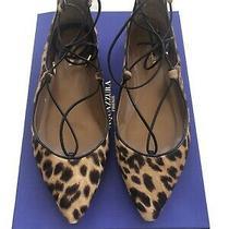 Aquazzura Christy Leopard Print Calf Hair Point Toe Flats Size 38 Free Shipping Photo