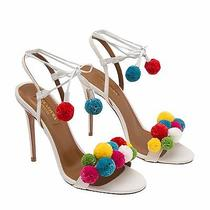 Aquazzura Raffia Pom Pom Sandals Heels Shoes Photo