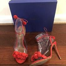 Aquazzura Red Pon Pon Sandal 105 Size 38 Photo