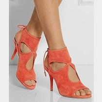 Aquazzura Sexy Thing Suede Coral Sandal Photo