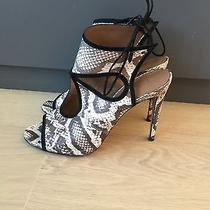 Aquazzura Sexy Thing Suede Heel in Grey and White Python Size 40 Photo
