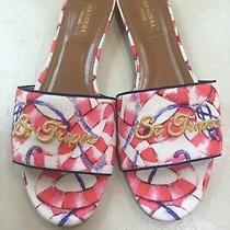 Aquazzura St Tropez Red Blue Slide Sandals Size 39.5 Photo
