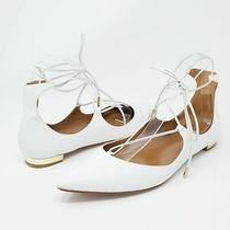 Aquazzura White Christy Leather Flats 39 Lace Up Pointed Toe Flat Womens Us Photo