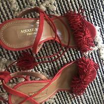 Aquazzura Wild Thing 105 Fringe Tasseled Suede Sandals Heels Poppy Red Size 38 Photo