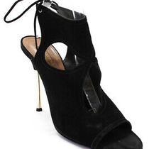 Aquazzura Womens Stiletto Heel Ankle Strap Peep Toe Pumps Black Suede Size 41 Photo