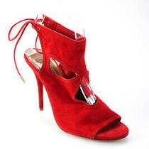 Aquazzura Womens Suede Peep Toe Cut Out Slim Heel Sandals Red Size 36.5 6.5 Photo