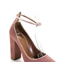 Aquazzura Womens Velvet Block Heel Ankle Strap Sandals Blush Pink Size 39 9 Photo
