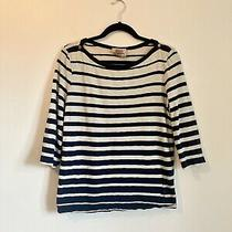 Arabella & Addison  Nautical Navy Blue & Cream Stripe T Shirt Size Xl 16 18 Photo