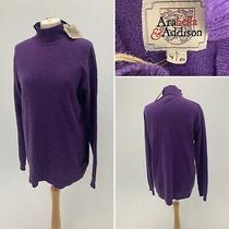 Arabella & Addison Purple High Neck Jumper Sweater 100% Merino Wool L Bnwt 169 Photo