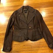 Arden B. 100% Supple Leather Long Sleeve Satin Lined Blazer Jacket Women Size L Photo