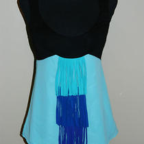 Arden B Aqua Blue Black Colorbloc Fringe Sleeveless Top Shirt Tank Blouse Sz S Photo