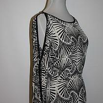 Arden B. Black Print Stretch Knit Top Blouse - Open Shoulder/ Arm Size S Photo