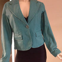 Arden B Blue Aqua Leather Jacket Size L Retail 198.00 Photo
