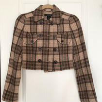 Arden B  Brown Pink Green Plaid  Cropped Buttoned Blazer Jacket  Size Xs Nwot Photo