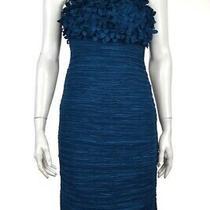 Arden B Dress Size M Blue Textured Sheath Knee Length Strapless Cocktail Photo