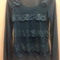 Arden B Floral Dark Green Chiffon Long Sleeve See Through Blouse Shirt Xs Photo