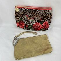 Arden B  Gold Embossed Wristlet and Estee Lauder Makeup Bag Photo